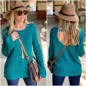 Teal Ribbed Knit Sweater